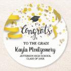 Congrats Grad Cap Gold Confetti Streamers Custom Round Paper Coaster