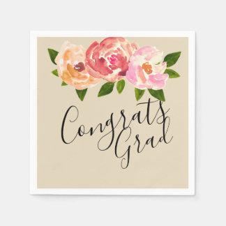 Congrats grad  chic floral graduation party napkin disposable napkins