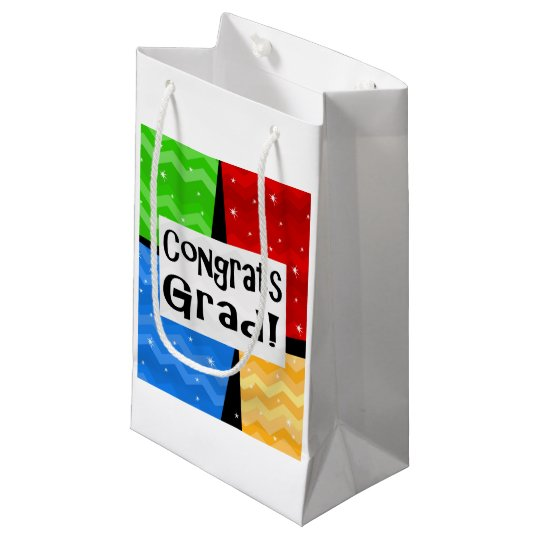Congrats Grad Festive Multicolor Graduation Party Small Gift Bag