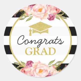 Congrats Grad | Floral Stripes Glam Graduation Classic Round Sticker