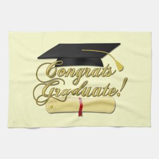 Congrats Graduate Diploma and Graduation hat Kitchen Towel