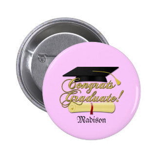 Congrats Graduate Diploma and hat + name | Pink 2 Inch Round Button