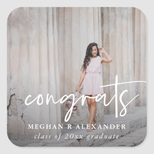 Congrats Graduate Photo and Name Sticker