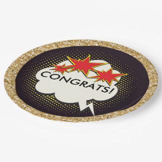 Congrats Pop Art Party Goods Paper Plate
