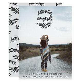 CONGRATS WREATH PORTRAIT-BLACK AND WHITE CARD