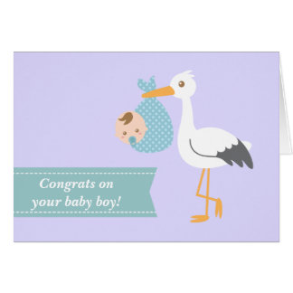 Congratulate new parents - stork with baby boy card