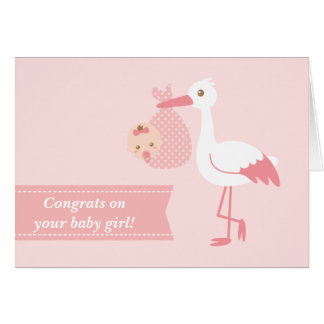 Congratulate new parents - stork with baby girl greeting card