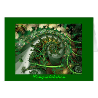 Congratulation, fractal green leaves greeting card