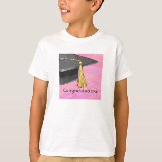 Congratulation Graduate Black and Pink T-Shirt
