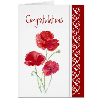 Congratulation Last Chemo Red Poppies Flower Card