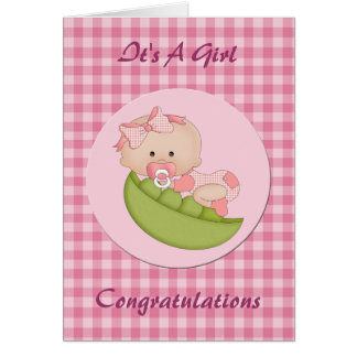 Congratulation New Baby Girl in a Pod Pink Greeting Card