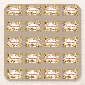 Congratulations 2 square paper coaster