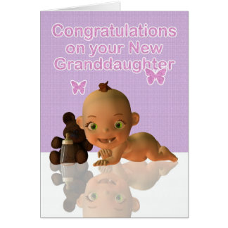 Congratulations A Beautiful Baby Girl Granddaughte Card