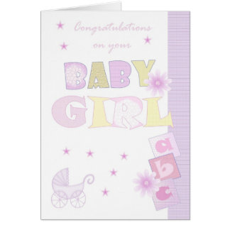 Congratulations Baby Girl Card, New Baby Card