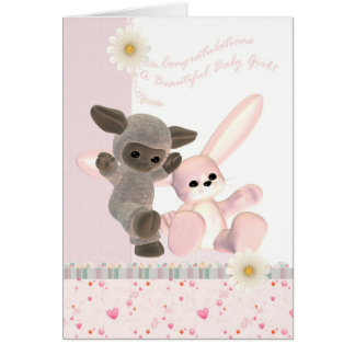 Congratulations Baby Girl Card, New Baby Greeting Card