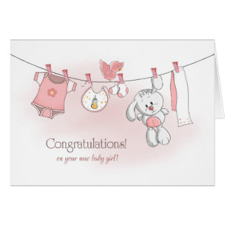 Congratulations Baby Girl with Bunny Card