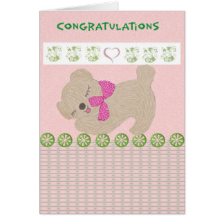 Congratulations Baby Girl with Teddy Bear in Pink Card