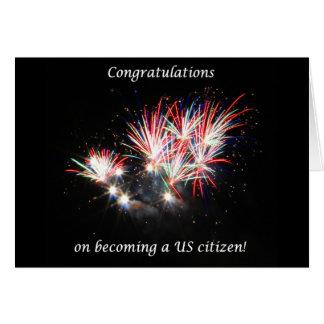 Congratulations becoming US Citizen, Fireworks Card