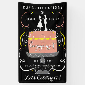 Congratulations Black and Pastel Engagement Party Banner