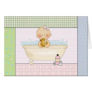 Congratulations Card: Baby Girl In Bathtub