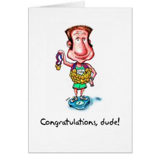 Congratulations Card for Marathoner - Medals Dude
