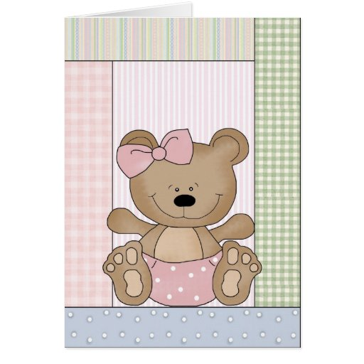 Congratulations Card: Teddy Bear With Pink Bow
