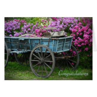 Congratulations card - wagon with lilacs