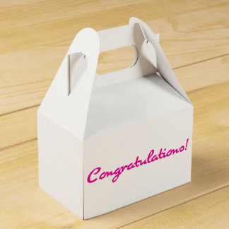 Congratulations Casual Bright Hot Pink Script Favor Box