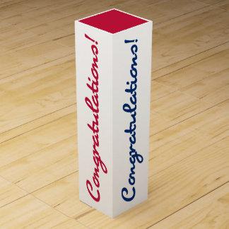 Congratulations Celebrate Red White Blue Gift Box Wine Box