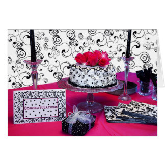 CONGRATULATIONS -  CELEBRATION FUCHSIA TABLE CARD