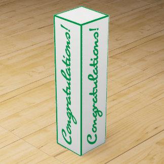 Congratulations Celebration Green White Gift Box Wine Gift Boxes