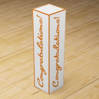 Congratulations Celebration Orange White Gift Box Wine Boxes