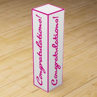 Congratulations Celebration Pink White Gift Box Wine Boxes