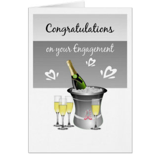 Congratulations Champagne Card For Engaged Couple