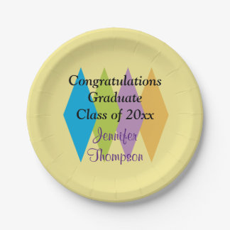 Congratulations Colorful Modern Style Graduation 7 Inch Paper Plate