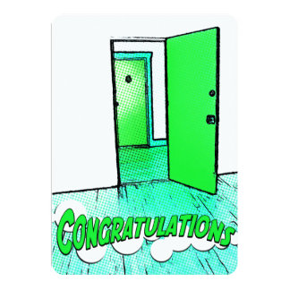 congratulations comic door 5x7 paper invitation card