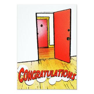 congratulations comic door 3.5x5 paper invitation card