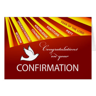 Congratulations Confirmation Dove with Gold and Re Card