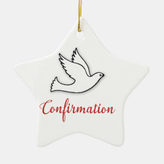 Congratulations Confirmation Dove with Gold, Red Ceramic Star Ornament