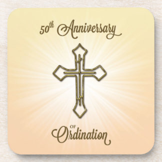 Congratulations Confirmation Dove with Gold Red Drink Coaster
