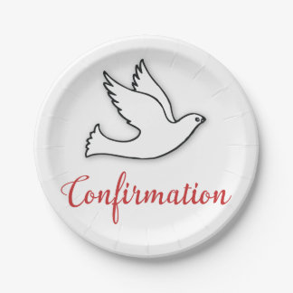 Congratulations Confirmation Dove with Gold, Red Paper Plate