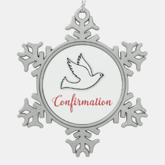 Congratulations Confirmation Dove with Gold, Red Snowflake Pewter Christmas Ornament