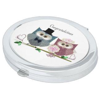 Congratulations cute Owls Wedding Pocket Mirror Makeup Mirrors