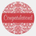 Congratulations Damask Envelope Seal Round Sticker