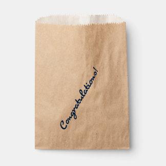 Congratulations Dark Blue Casual Script Favour Bag