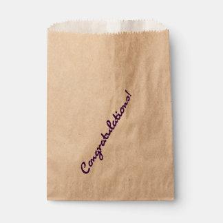 Congratulations Dark Purple Casual Script Favour Bag