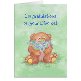 Congratulations Divorce Humor, Teddy Bear Flowers Card
