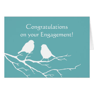 Congratulations Engagement Cute Sparrow Bird  Blue Card