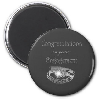 Congratulations Engagement Rings Art 2 Inch Round Magnet