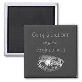 Congratulations Engagement Rings Art Square Magnet